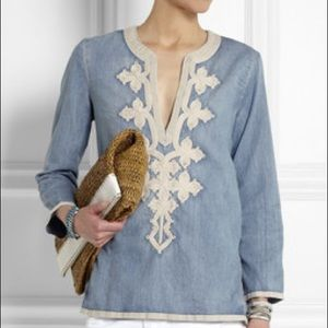 J. Crew Embroidered Chambray Tunic